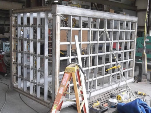 Stainless steel trashrack for a reservoir at a nuclear power plant.