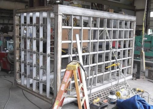 Aquajet services large stainless steel cage weldment