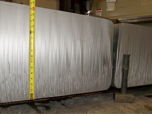 Waterjet cut through a 16-1/2' thick billet of Waspaloy (a high strength super alloy). The 10,000 pound billet was severed into four pieces.