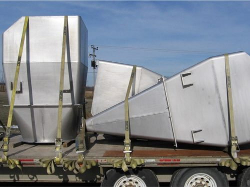 Stainless steel hoppers.